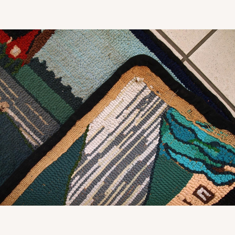 Handmade Vintage American Hooked Rug - image-9