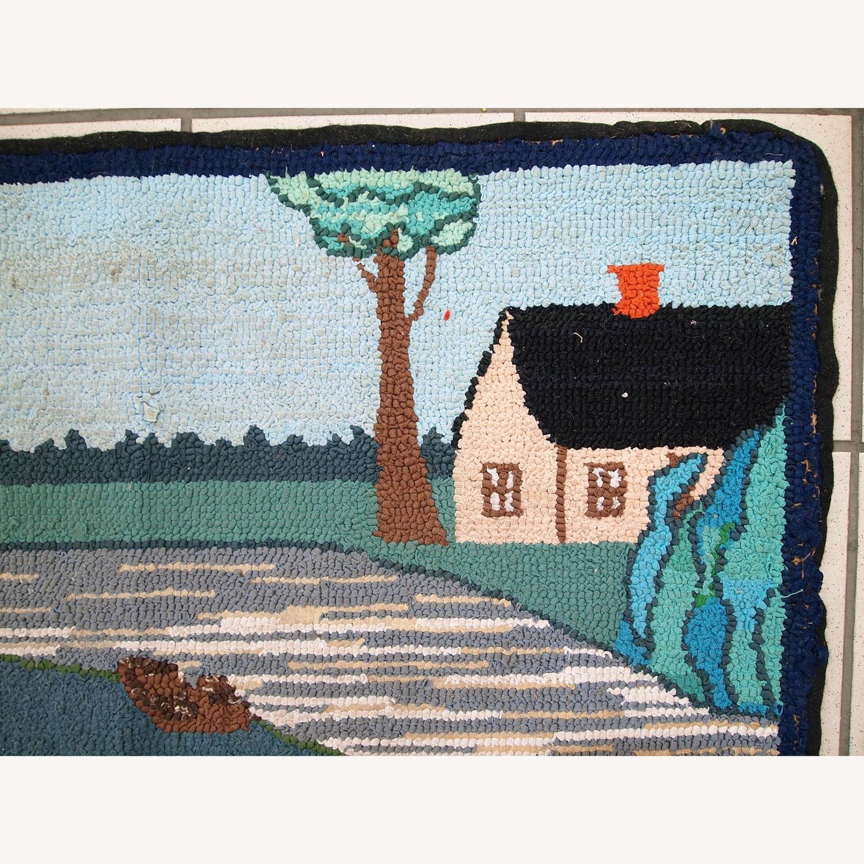 Handmade Vintage American Hooked Rug - image-7