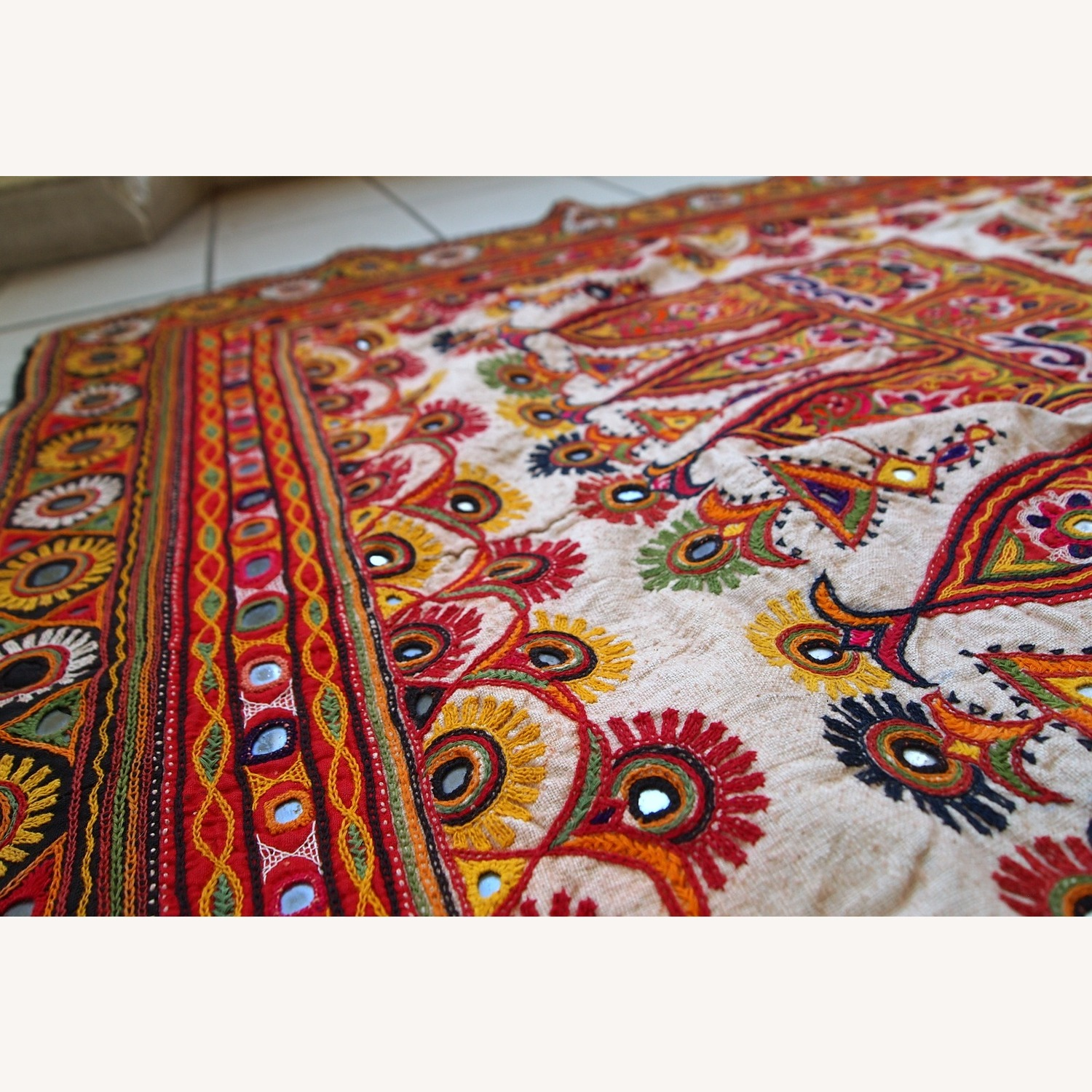 Handmade Indian Wall Hanging Embroidered Tapestry - image-10