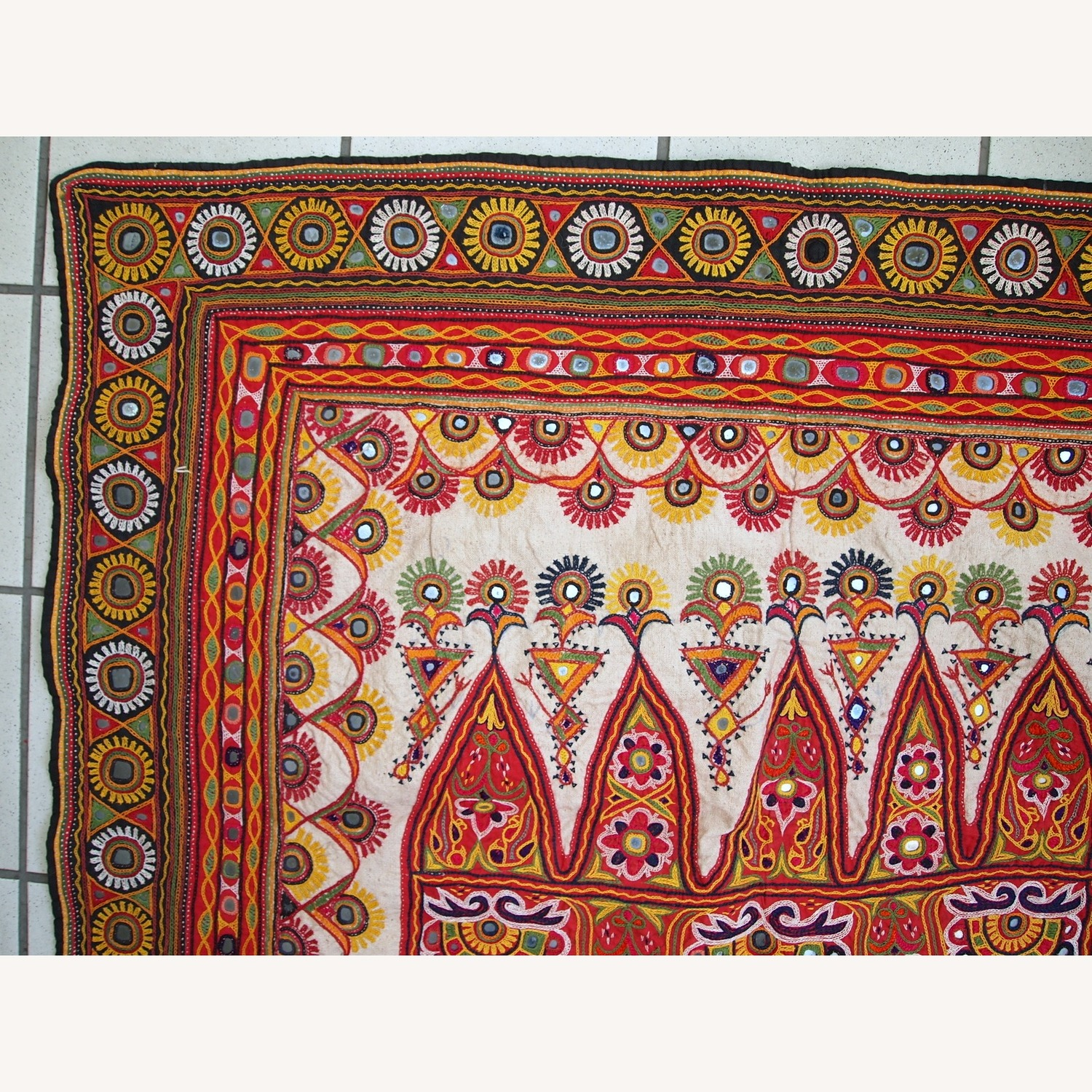 Handmade Indian Wall Hanging Embroidered Tapestry - image-9