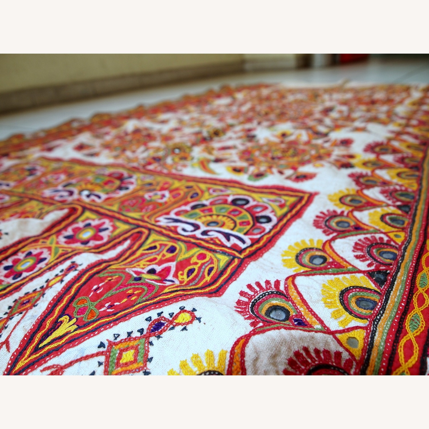 Handmade Indian Wall Hanging Embroidered Tapestry - image-8