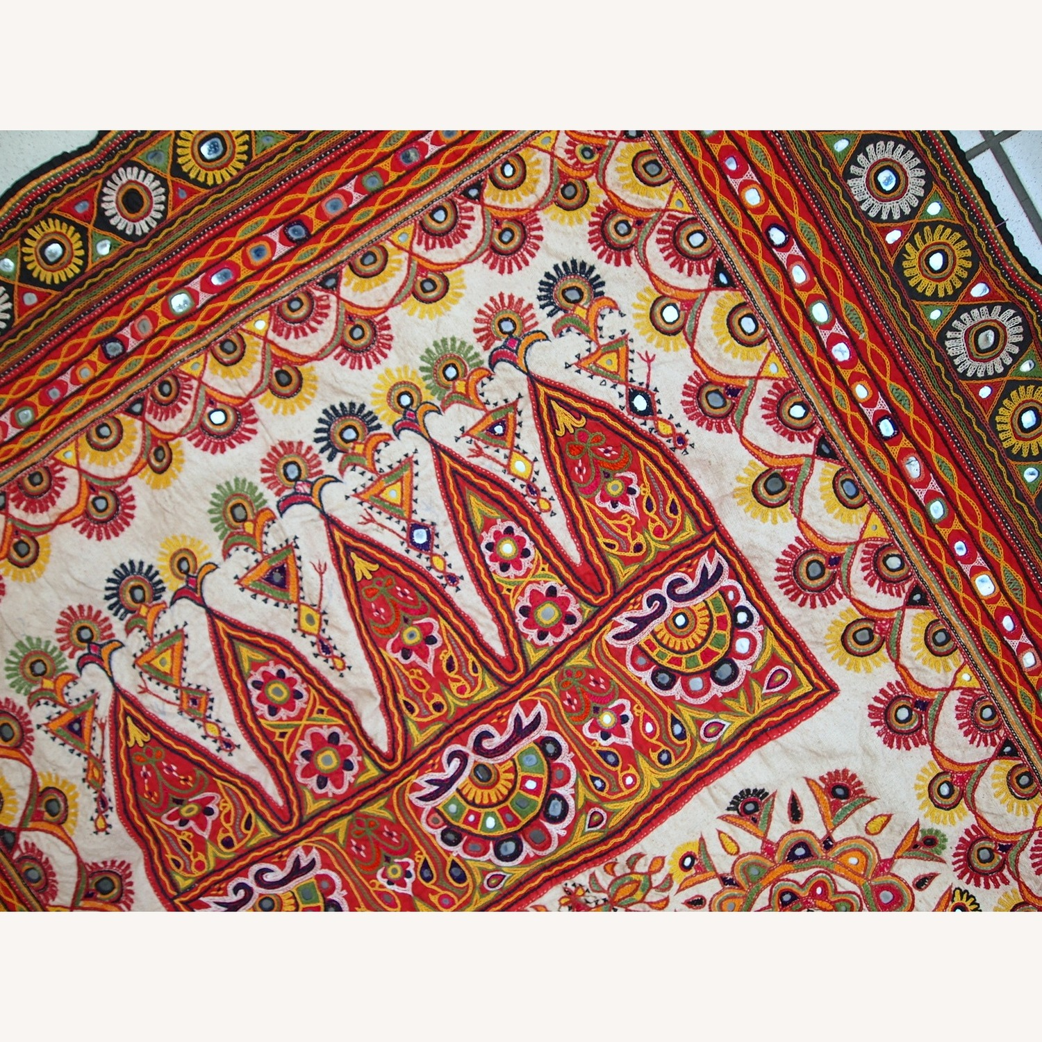 Handmade Indian Wall Hanging Embroidered Tapestry - image-7
