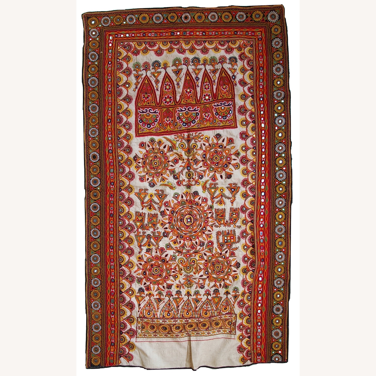 Handmade Indian Wall Hanging Embroidered Tapestry - image-1