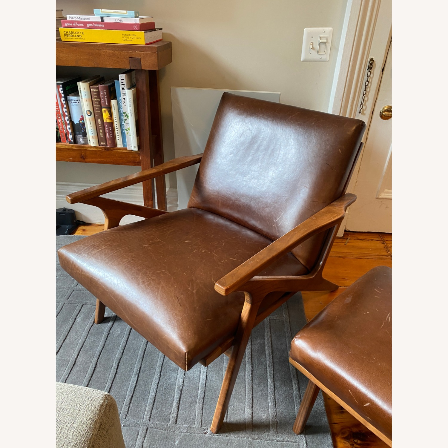 Crate & Barrel Cavett Chair and Ottoman - image-9