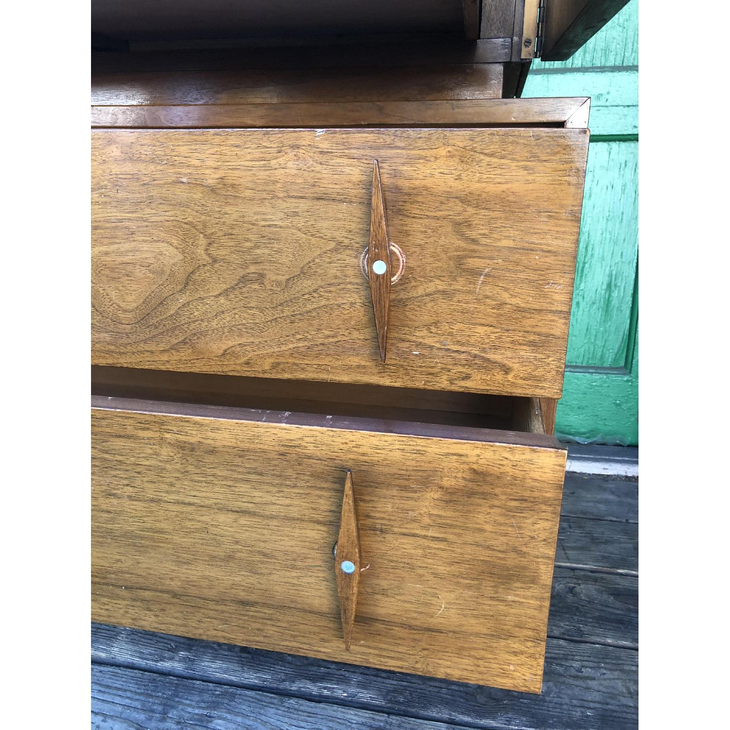 Mid century Highboy Dresser with Carved Wood Pulls - image-12
