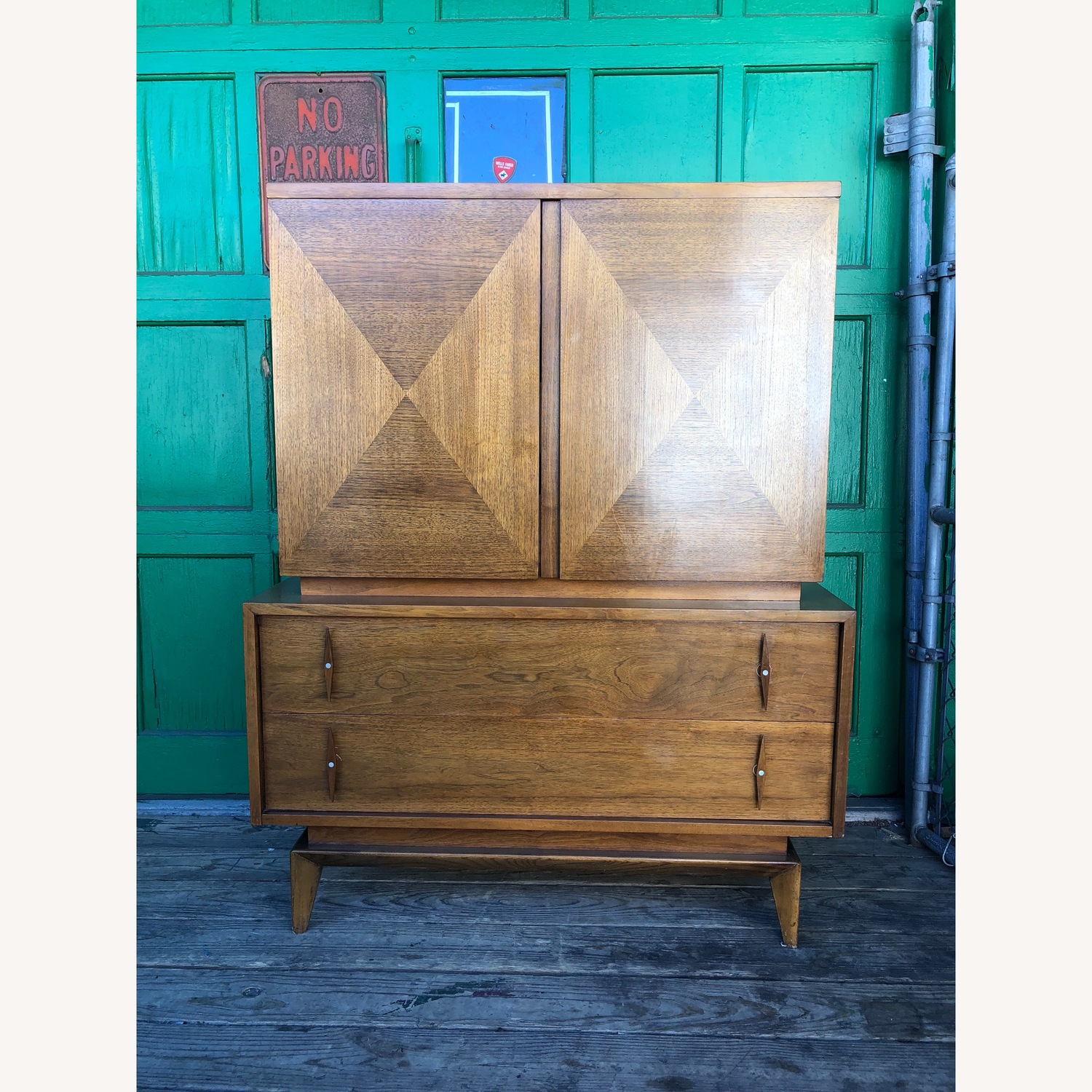 Mid century Highboy Dresser with Carved Wood Pulls - image-1