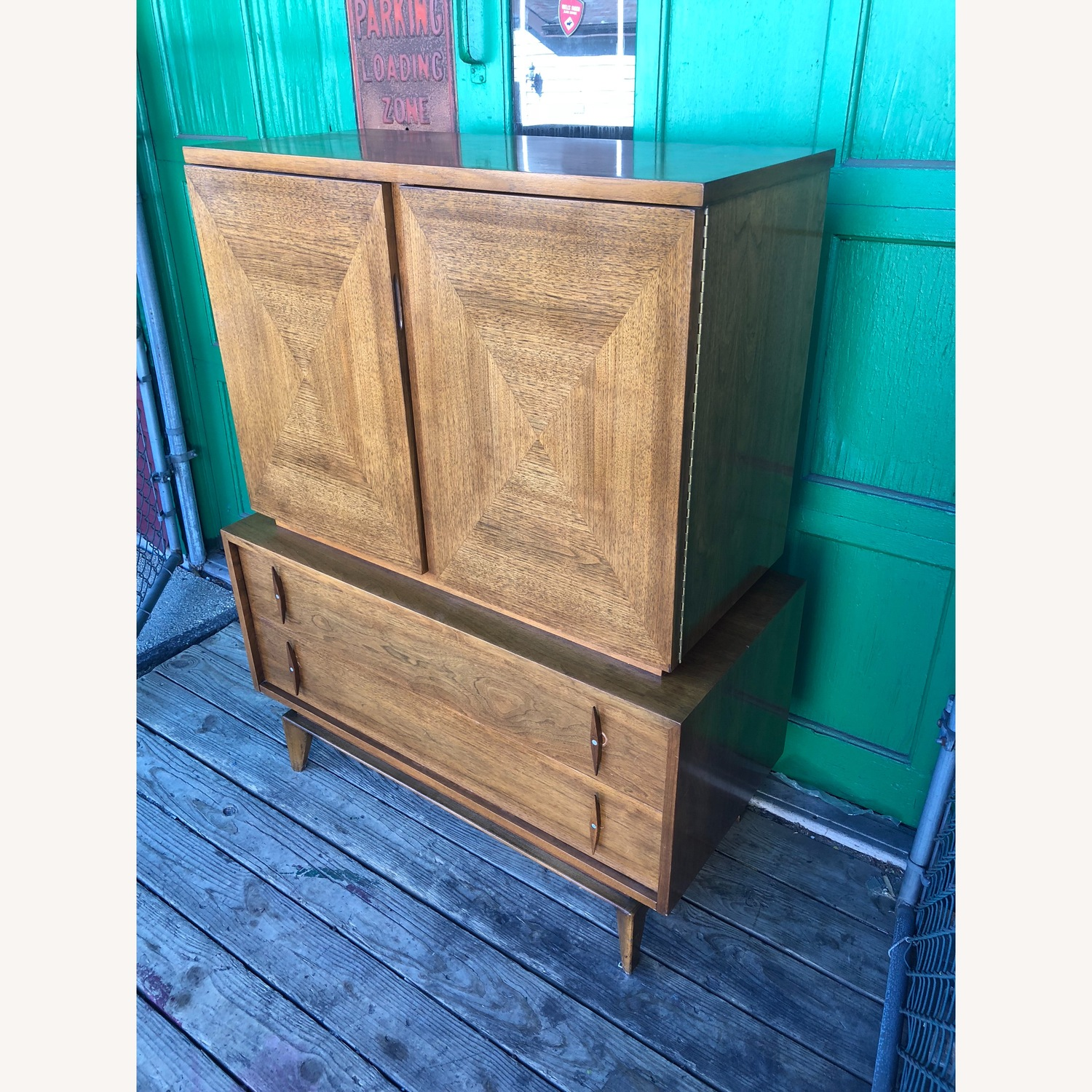 Mid century Highboy Dresser with Carved Wood Pulls - image-3