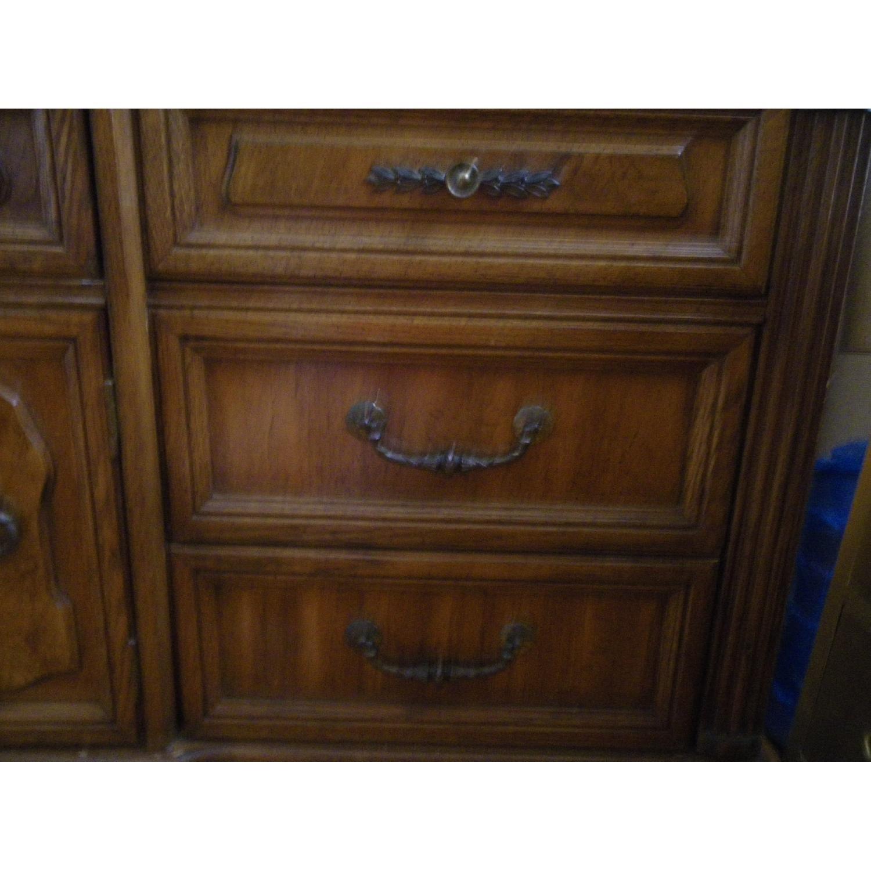 Vintage Oakwood Dresser with Foldable Mirrors - image-2