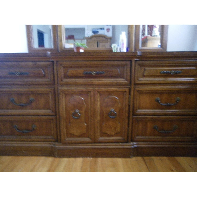 Vintage Oakwood Dresser with Foldable Mirrors - image-1