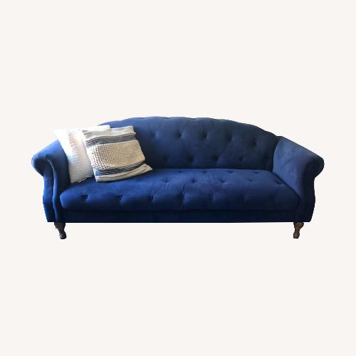 Used Urban Outfitters Navy Tufted Microsuede Couch for sale on AptDeco