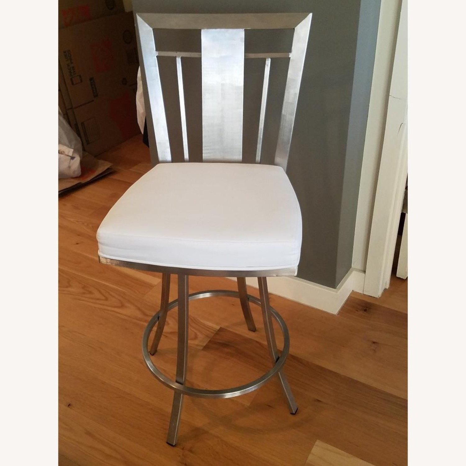 Counter Faux White Leather Bar Stools - image-0