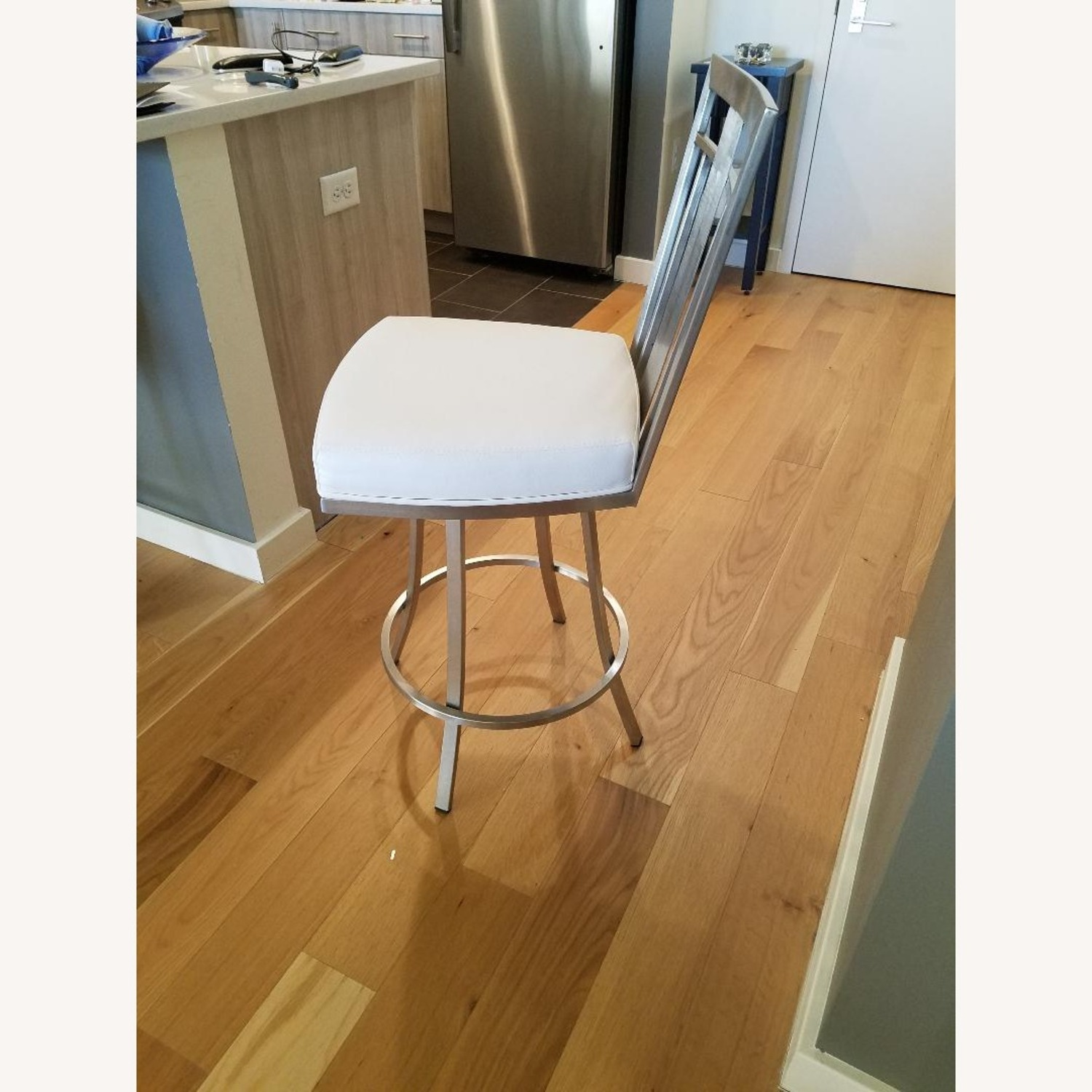 Counter Faux White Leather Bar Stools - image-1