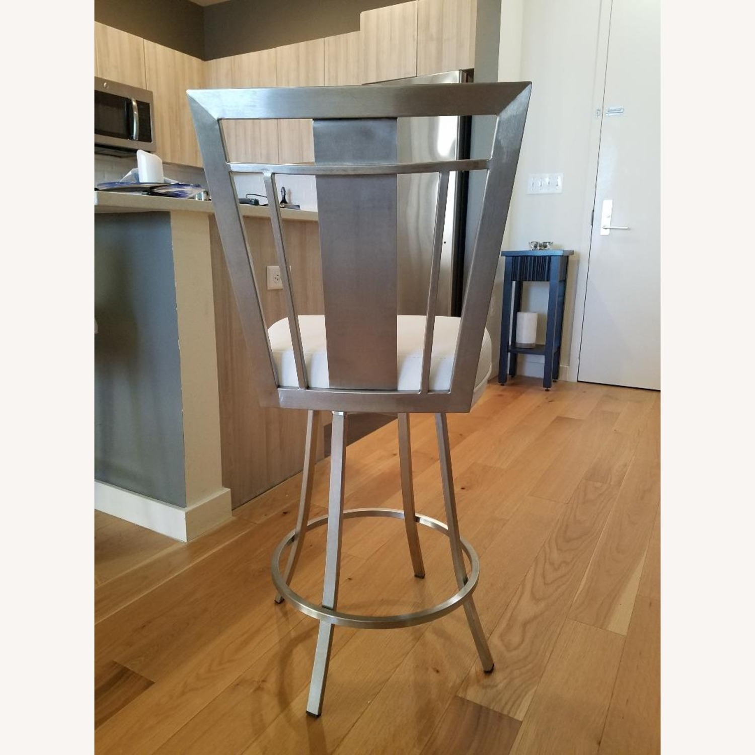 Counter Faux White Leather Bar Stools - image-2