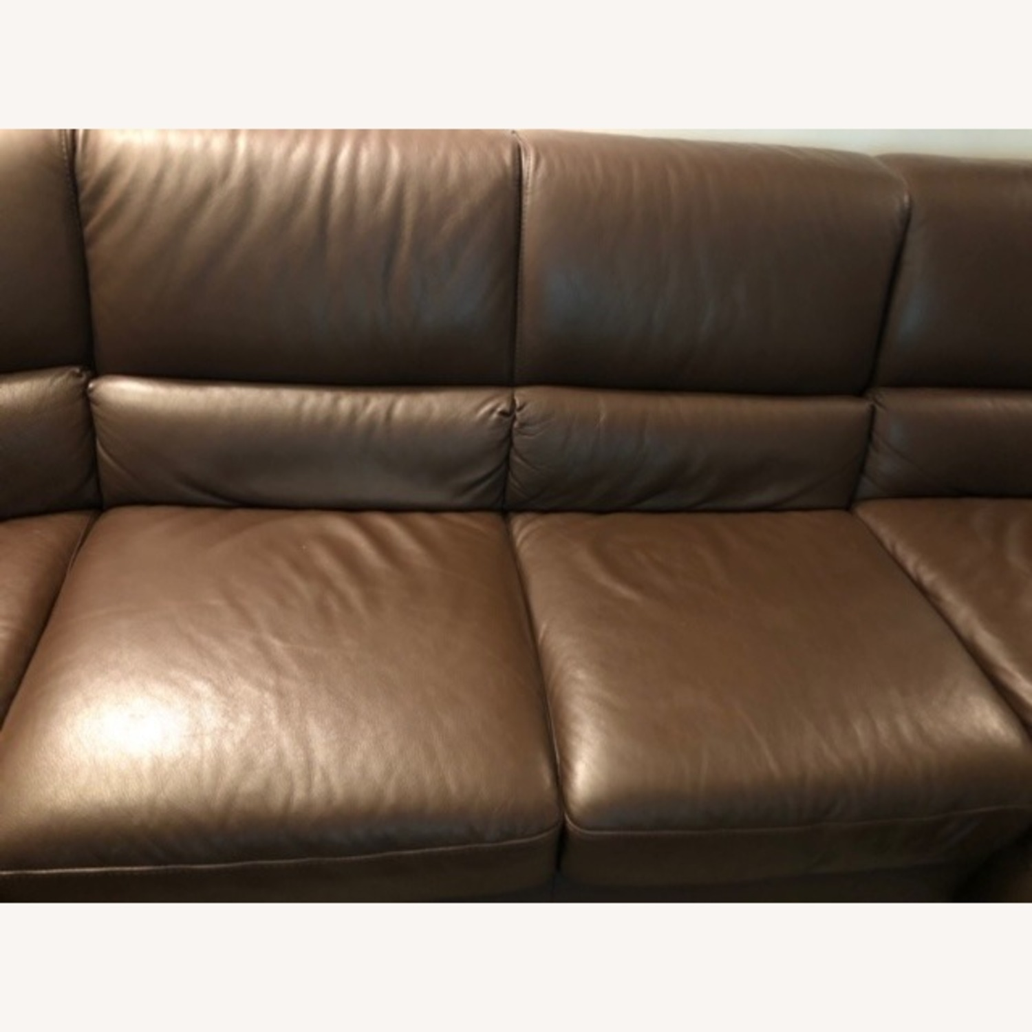 Macy's Brown Leather Sectional - image-3