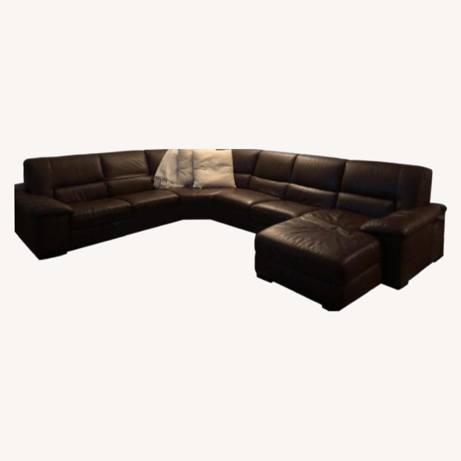 Macy's Brown Leather Sectional - image-0