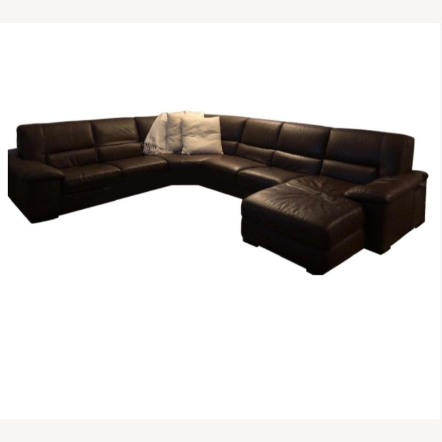 Macy's Brown Leather Sectional - image-1