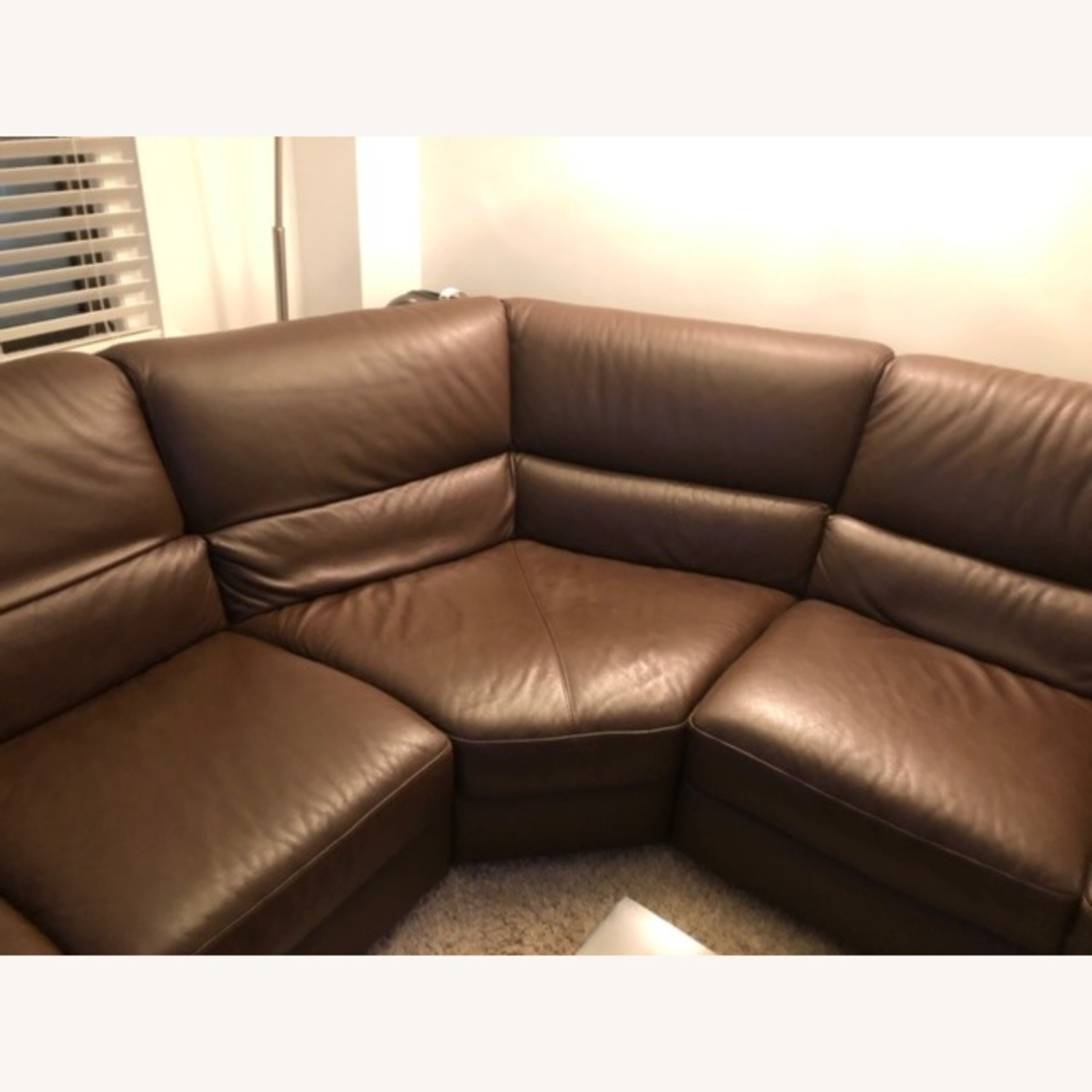 Macy's Brown Leather Sectional - image-11