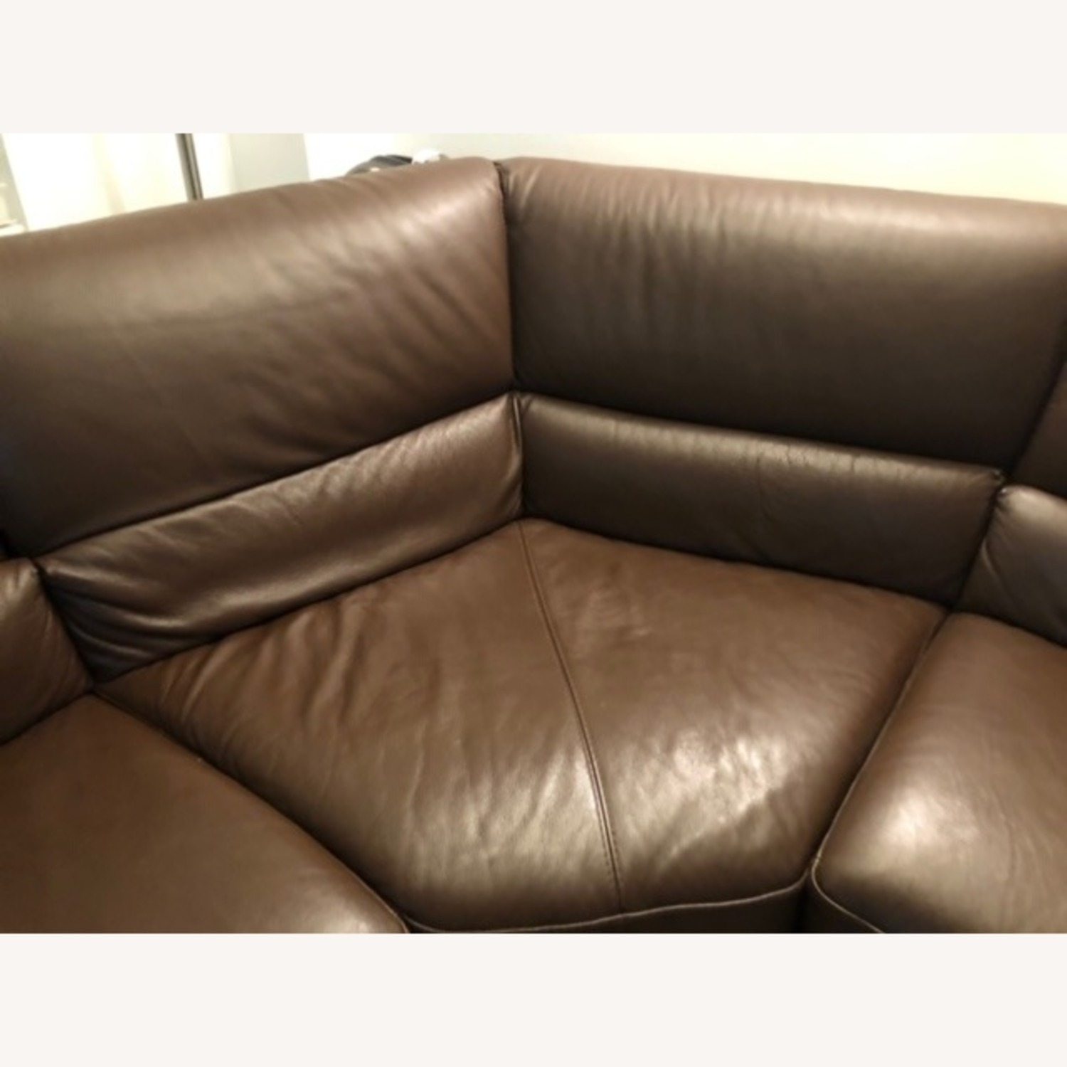 Macy's Brown Leather Sectional - image-5