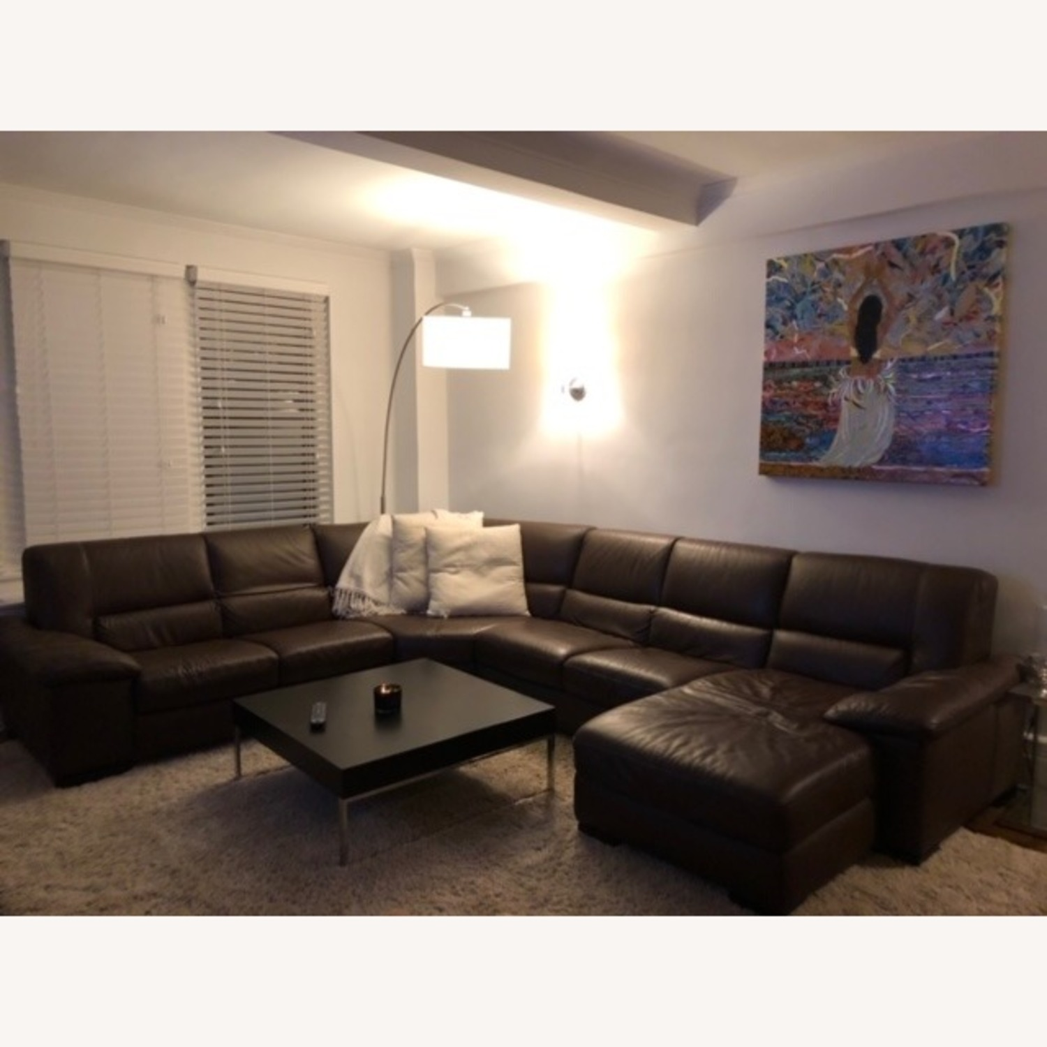 Macy's Brown Leather Sectional - image-2