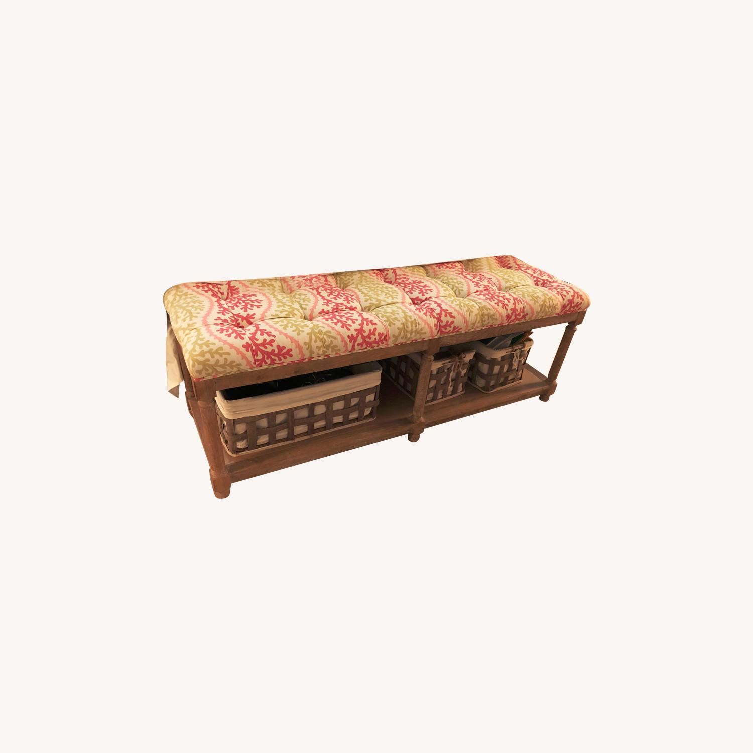 End of Bed Bench with 3 Storage Baskets - image-0