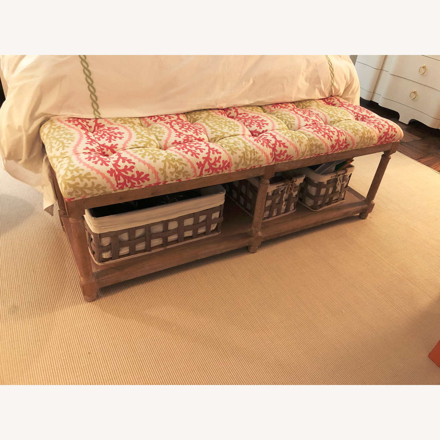 End of Bed Bench with 3 Storage Baskets - image-1