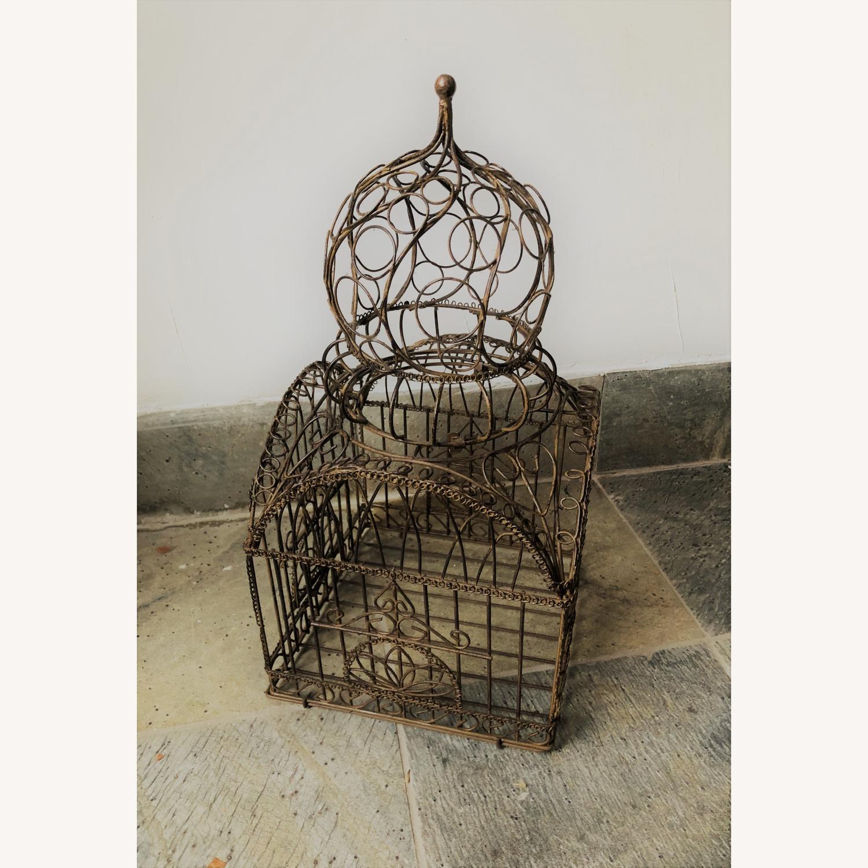 Vintage Ornate Brass Bird Cage - image-1