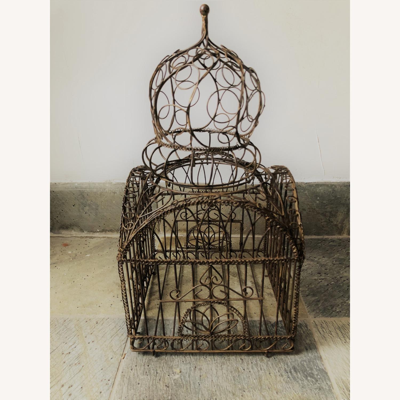 Vintage Ornate Brass Bird Cage - image-4