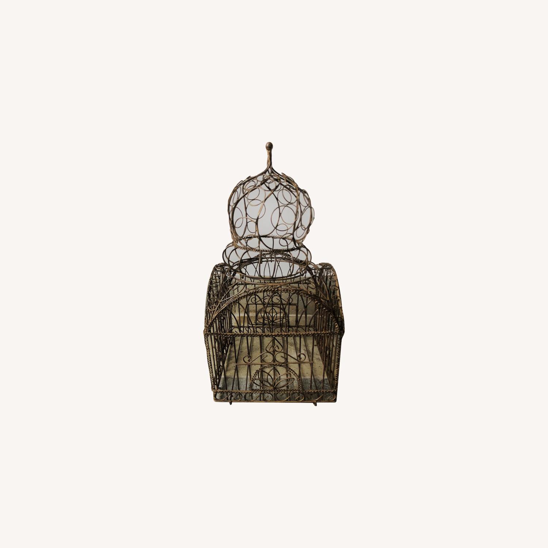 Vintage Ornate Brass Bird Cage - image-0