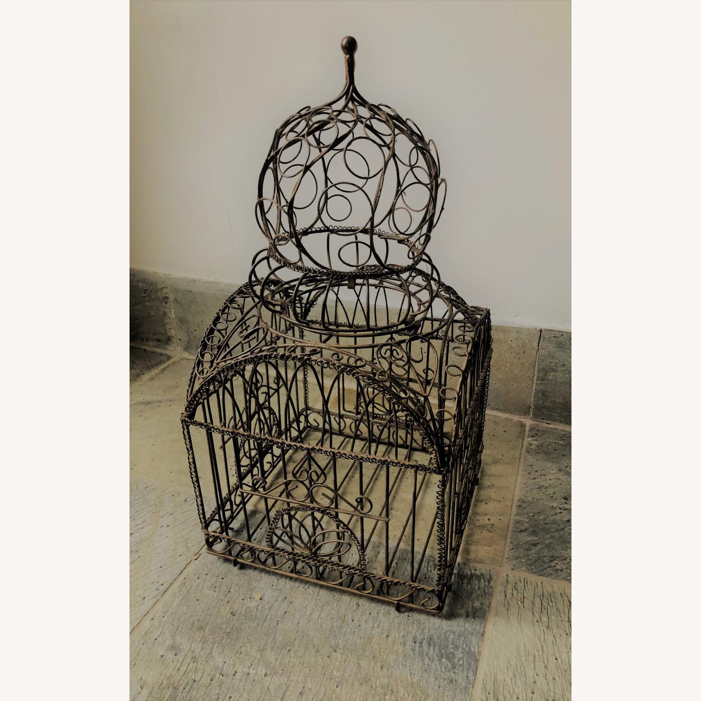 Vintage Ornate Brass Bird Cage - image-3
