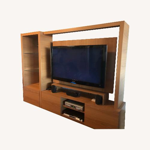 Used Natural Wood Entertainment Center for sale on AptDeco