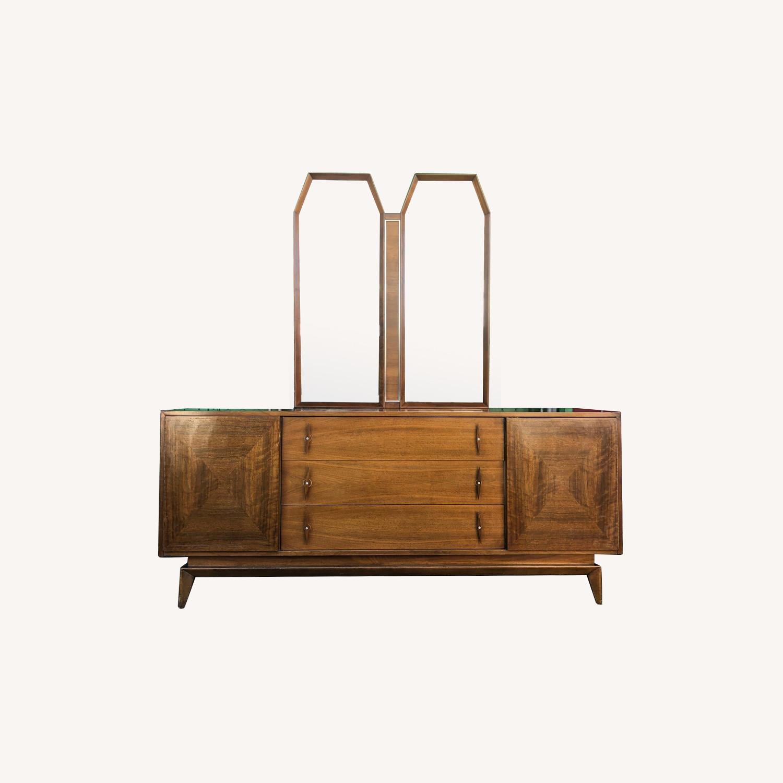 Mid Century Modern Lowboy Dresser with Mirrors - image-0