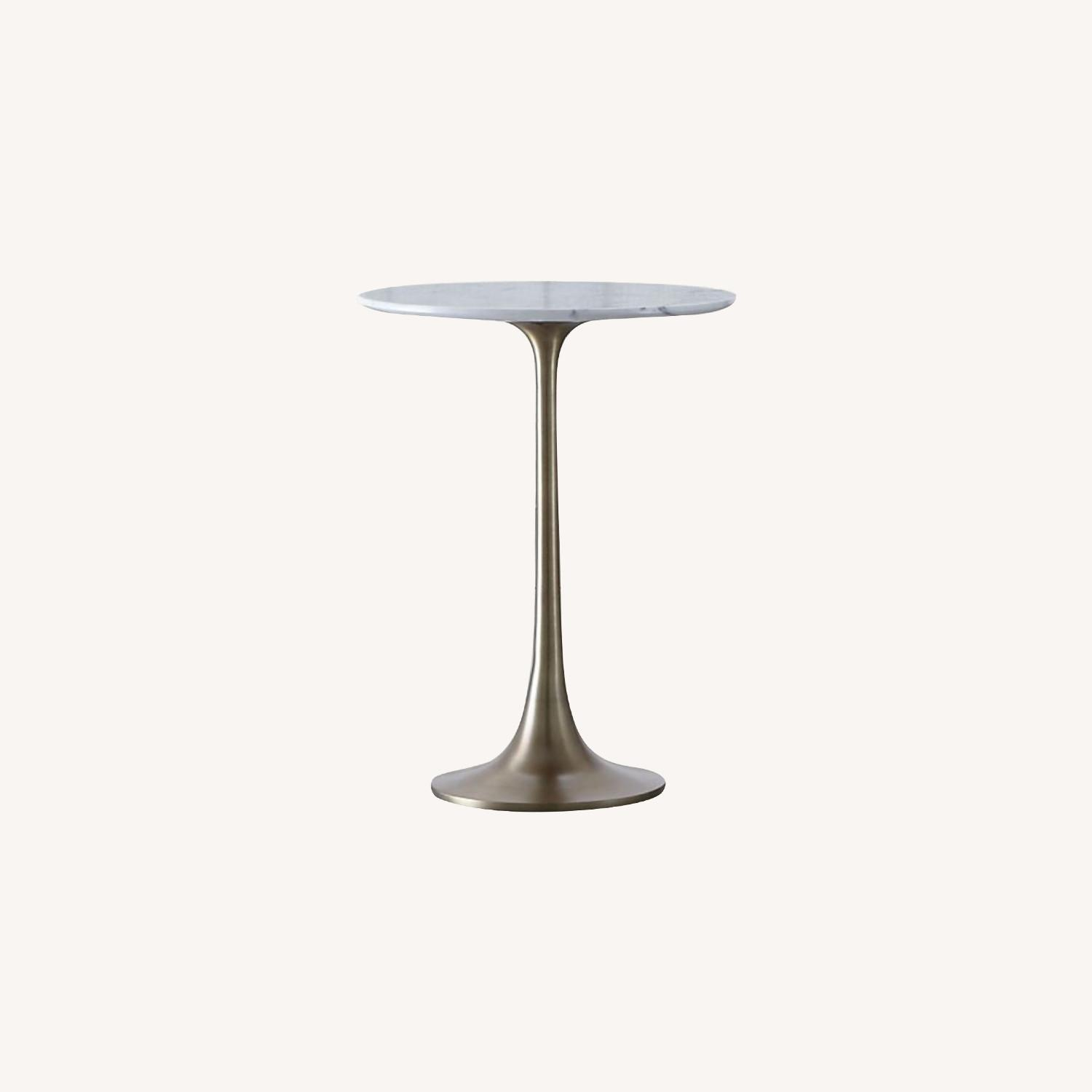 Crate & Barrel Nero White Marble Accent Table - image-0