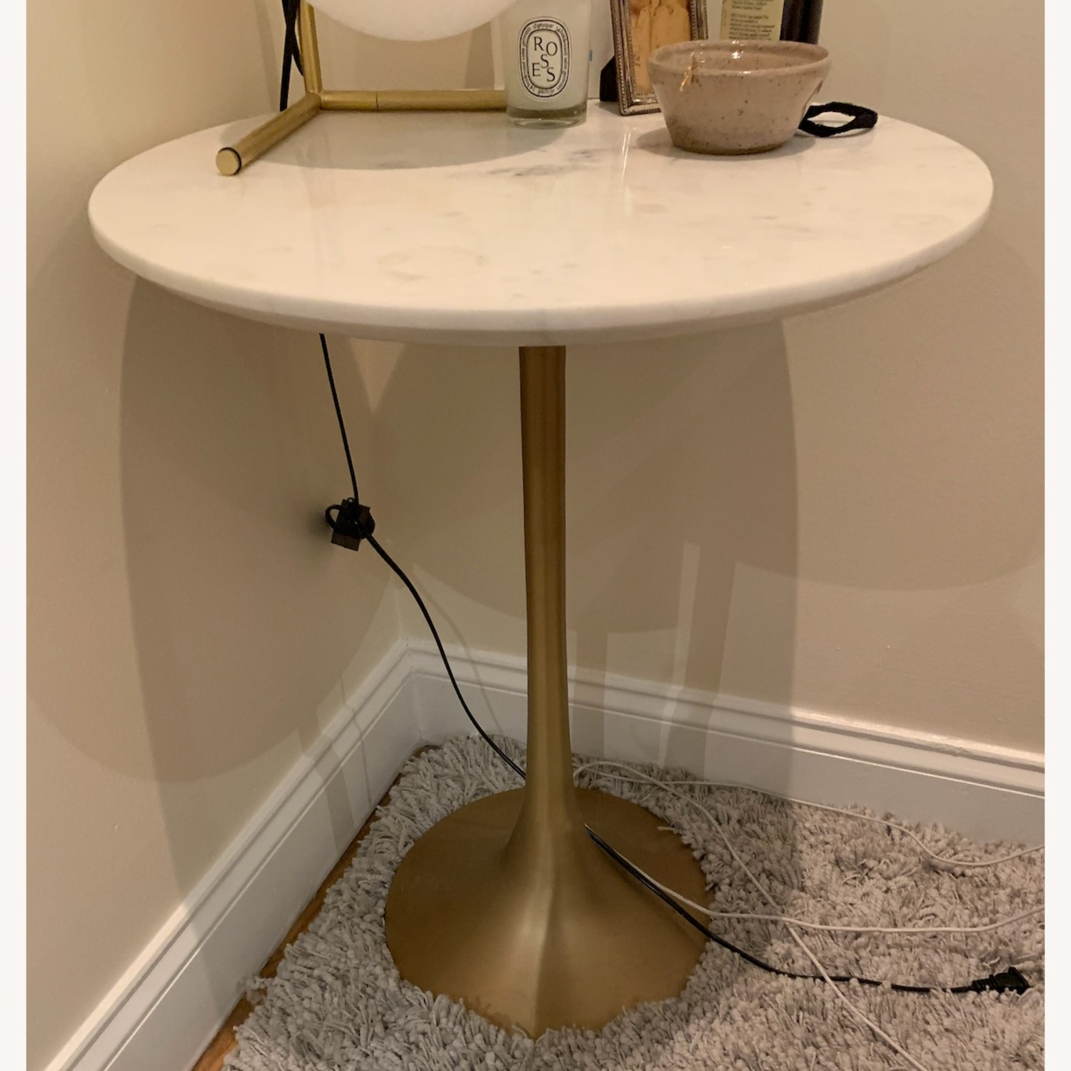 Crate & Barrel Nero White Marble Accent Table - image-1
