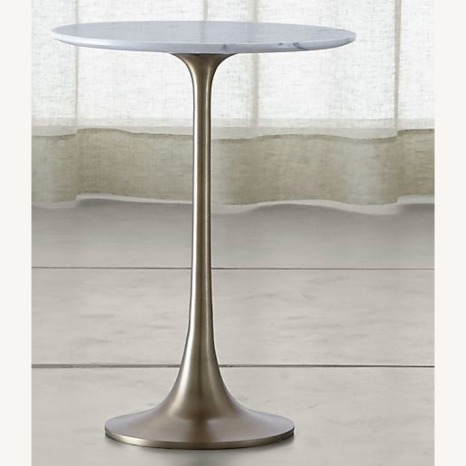 Crate & Barrel Nero White Marble Accent Table - image-3