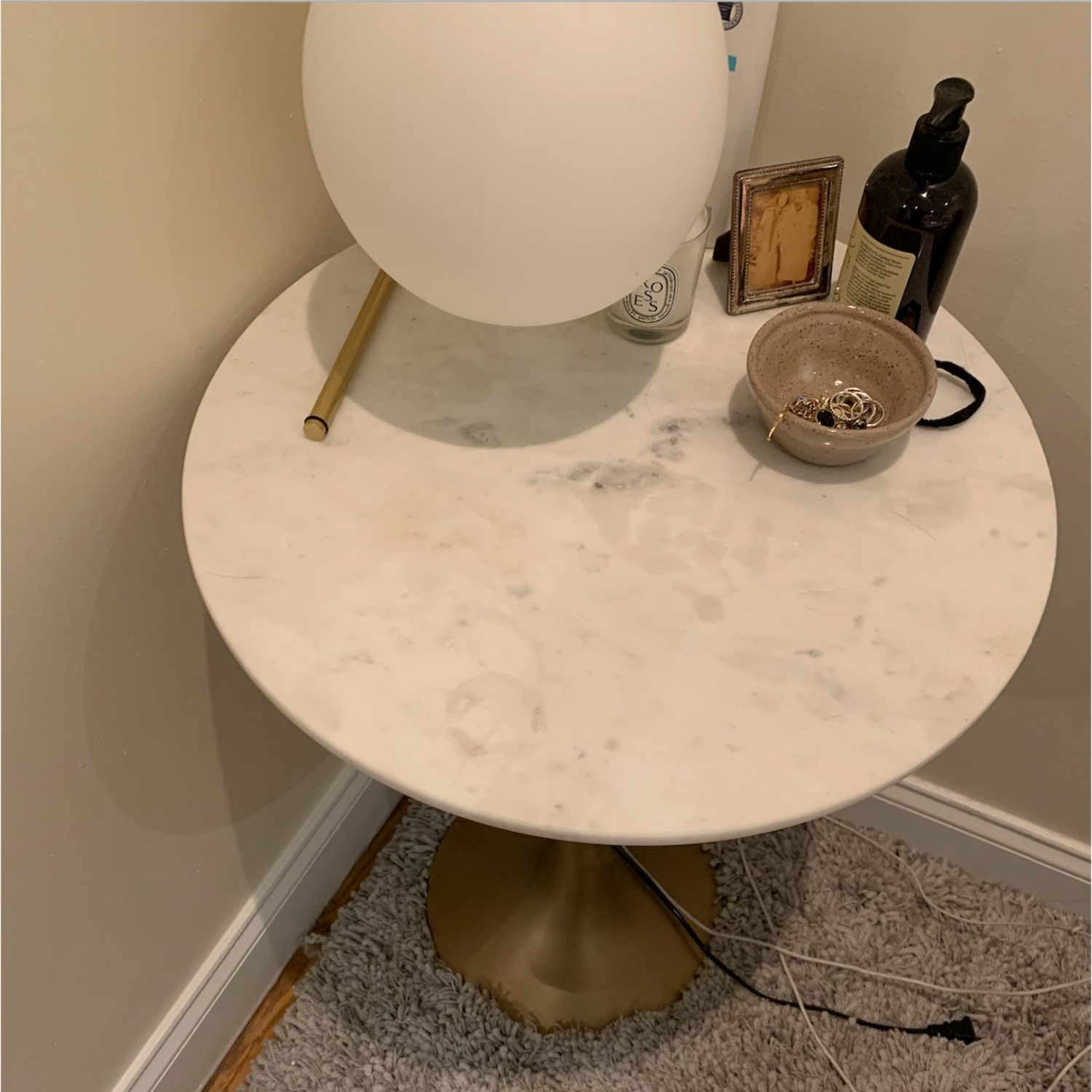 Crate & Barrel Nero White Marble Accent Table - image-2