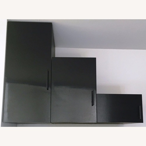 Used 3 Custom Black Lacquer Mountable Cabinets for sale on AptDeco