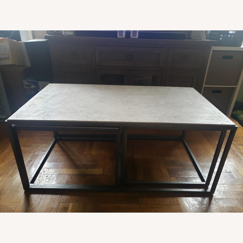 Macy S Travertine Metal Nesting Coffee Table Aptdeco