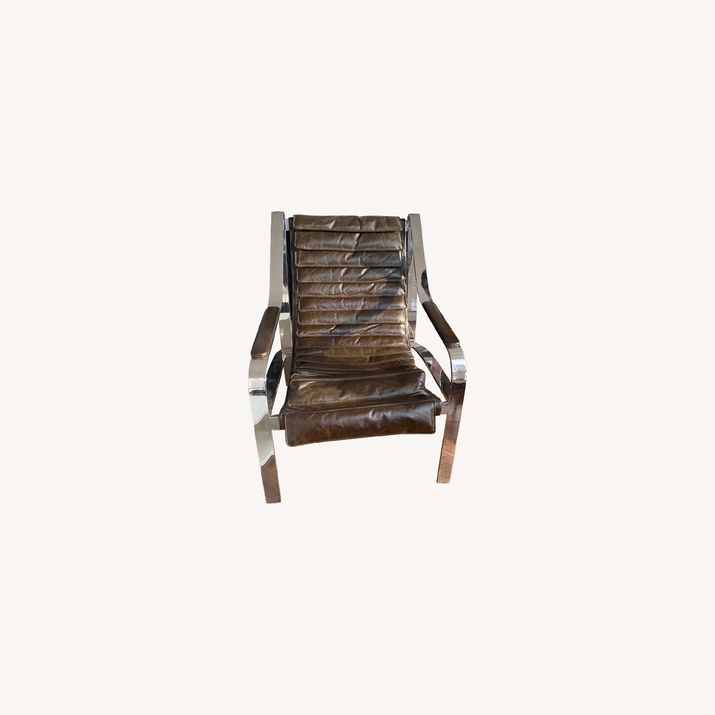 Arhaus Sling Back Leather Chair - image-0
