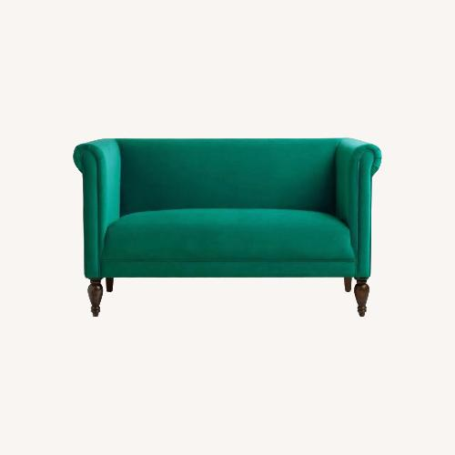 Used World Market Velvet Emerald Green Loveseat for sale on AptDeco