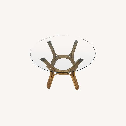 Used Vintage Rattan Glass Top Table for sale on AptDeco
