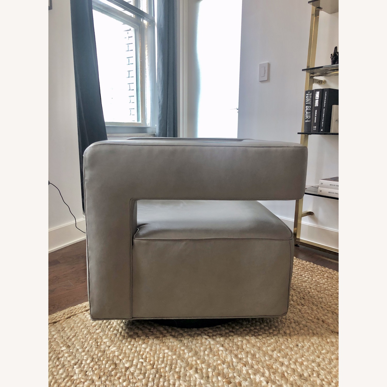 Restoration Hardware Drew Leather Swivel chair - image-3