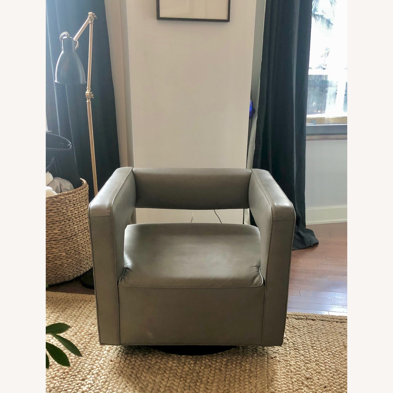 Restoration Hardware Drew Leather Swivel chair - image-0