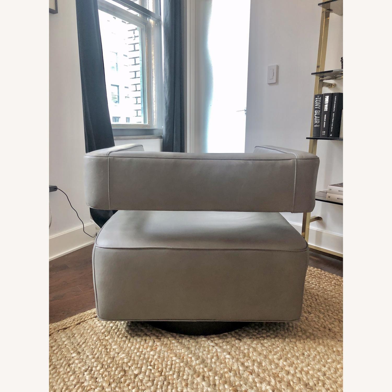 Restoration Hardware Drew Leather Swivel chair - image-4