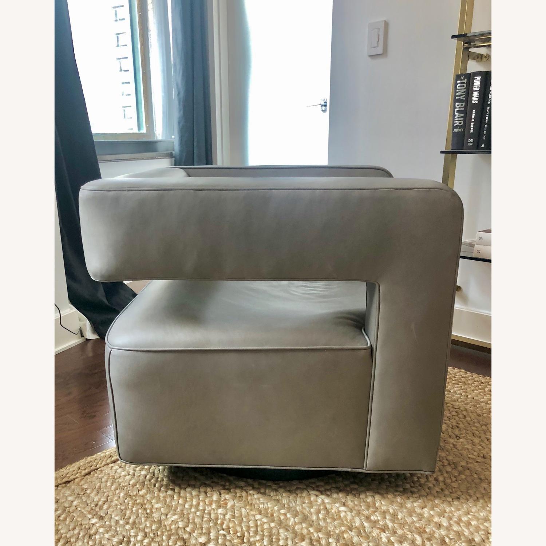 Restoration Hardware Drew Leather Swivel chair - image-2