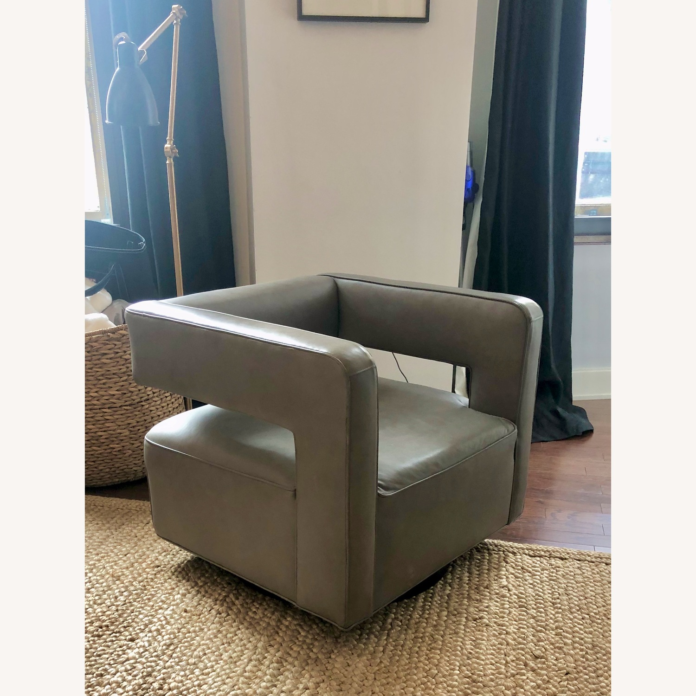 Restoration Hardware Drew Leather Swivel chair - image-1