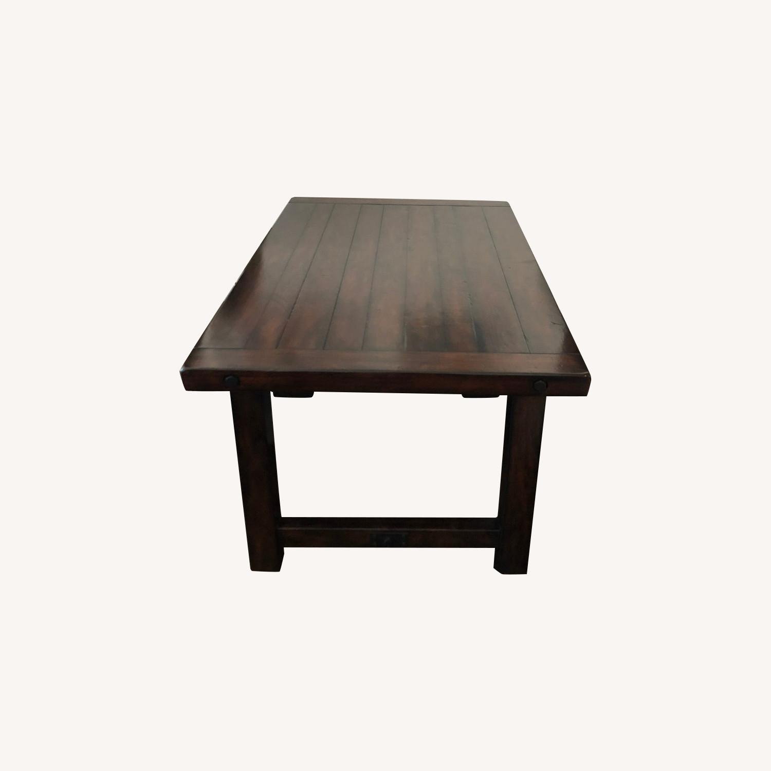 Crate & Barrel Dark Wood Table with Leaf - image-0
