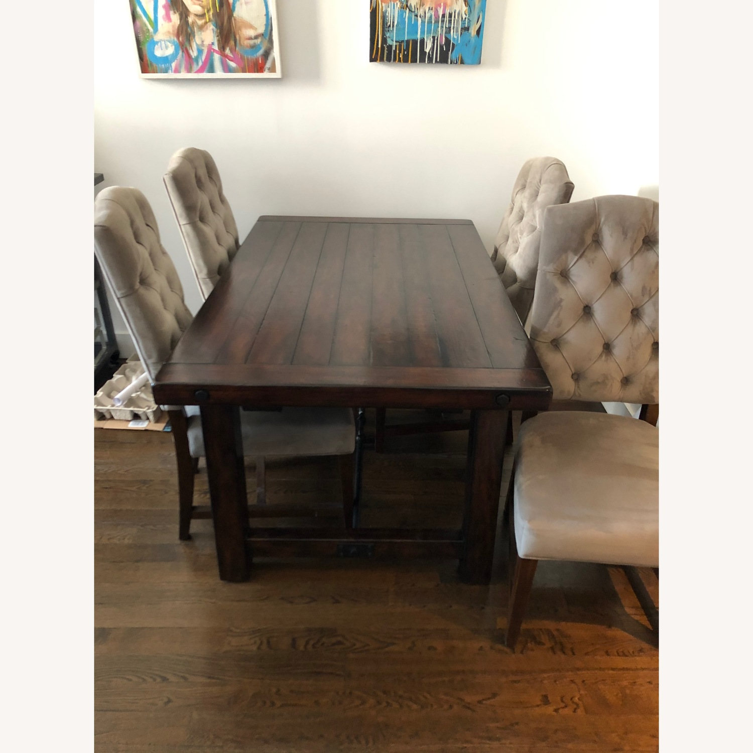 Crate & Barrel Dark Wood Table with Leaf - image-1