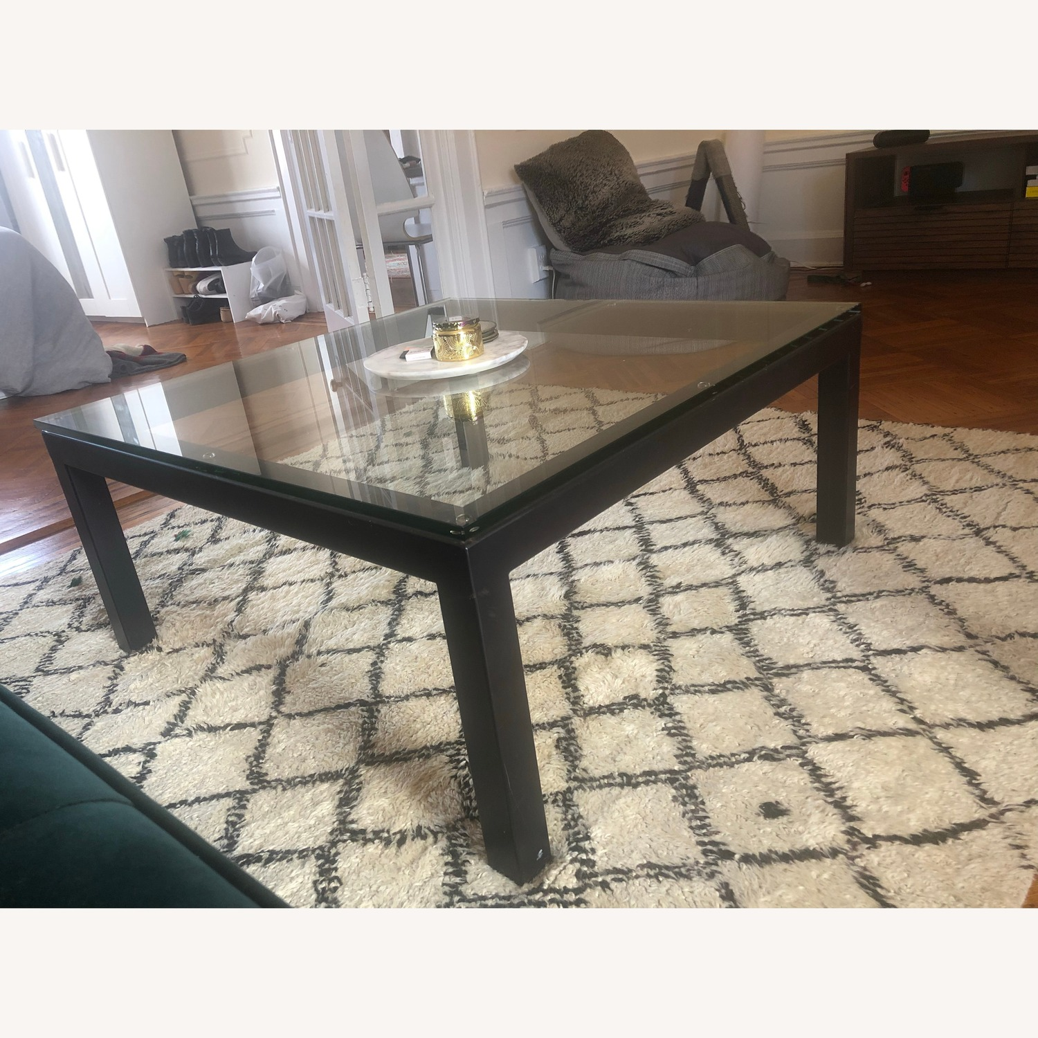 Crate & Barrel Sturdy & Elegant Glass Coffee Table - image-3