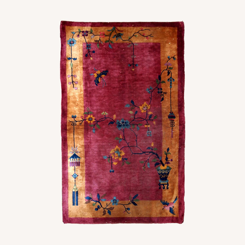 Handmade Antique Art Deco Chinese Rug - image-0