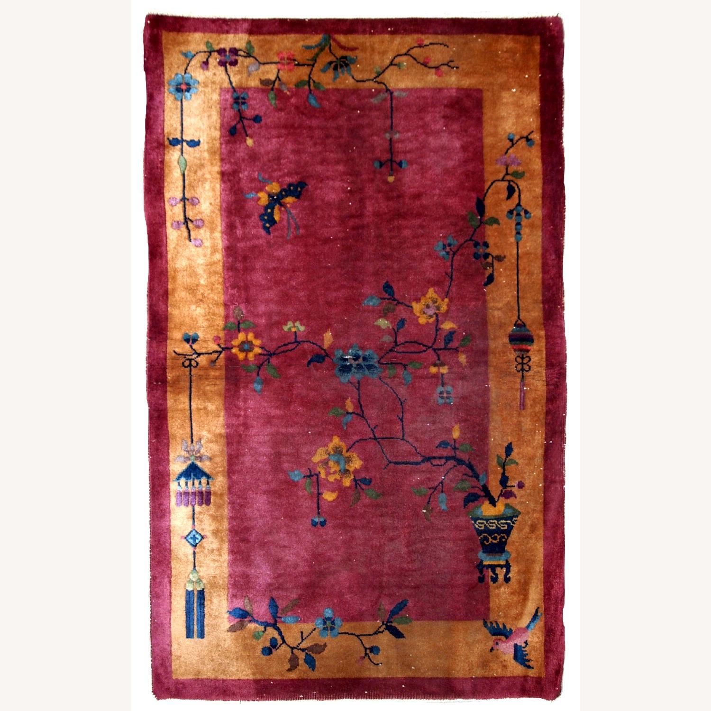 Handmade Antique Art Deco Chinese Rug - image-1